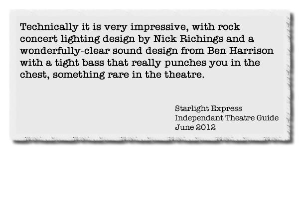 Technically it is very impressive, with rock concert lighting design by Nick Richings and a wonderfully-clear sound design from Ben Harrison with a tight bass that really punches you in the chest, something rare in the theatre.